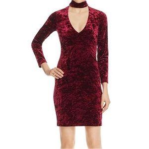Bardot Stretch Velvet Burgundy Choker Sheath Dress